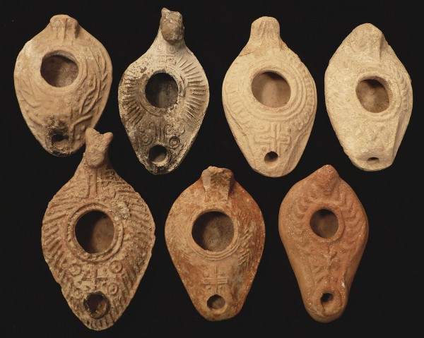 Herodian oil lamps with crosses from first-century Judea.